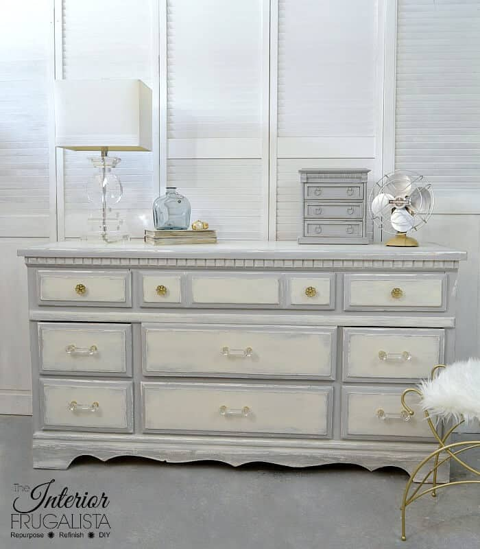 Gorgeous gray and white farmhouse style dresser makeover with lucite handles