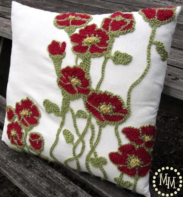 Hand embroidered pillow - Pottery Barn Knockoff