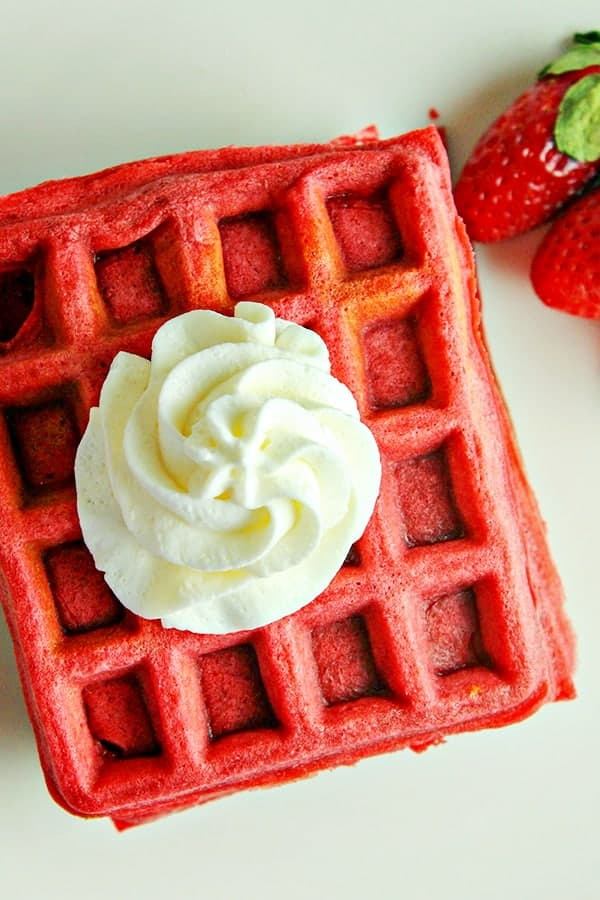 Red Velvet Waffles topped with whipped cream - recipe