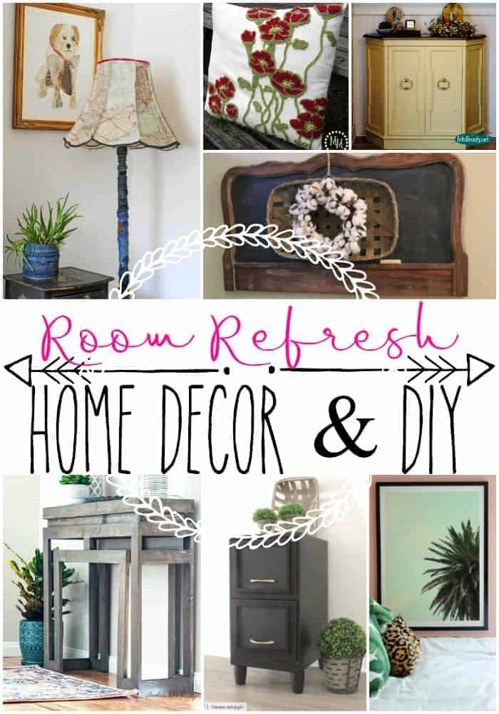 Pinterest style photo collection of home decor and DIY projects including a vintage map lampshade, a made over old metal file cabinet, a console table made for only $35.00, a DIY HUGE picture frame, a pottery barn knockoff pillow, and a headboard turned into a hanging chalkboard