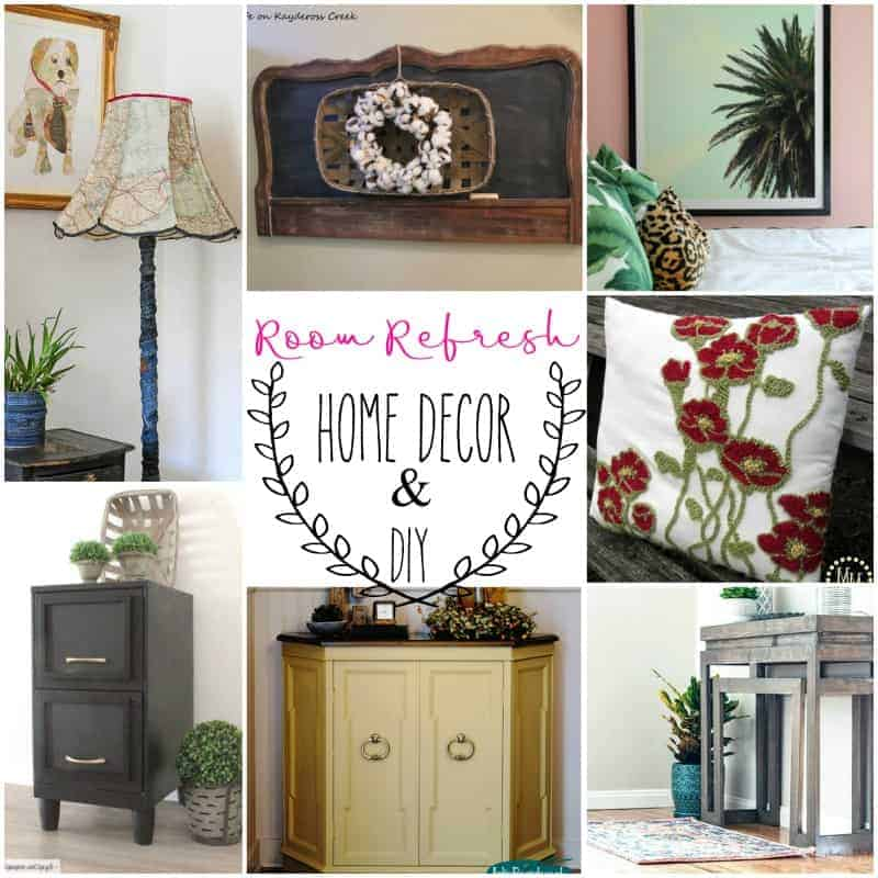 Square photo collection of home decor and DIY projects including a vintage map lampshade, a made over old metal file cabinet, a console table made for only $35.00, a DIY HUGE picture frame, a pottery barn knockoff pillow, and a headboard turned into a hanging chalkboard