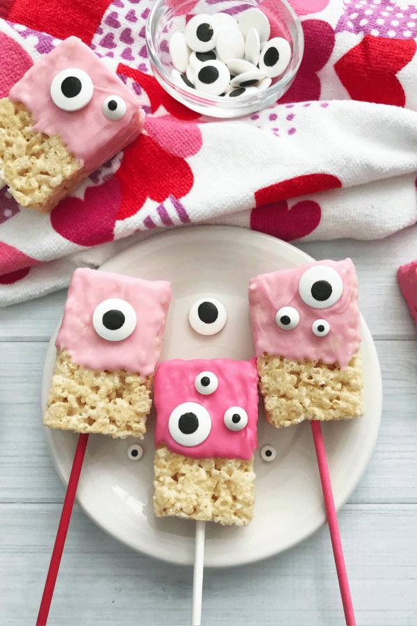 Adorable Googly Eyed Valentine's Day Marshmallow Treats - recipe