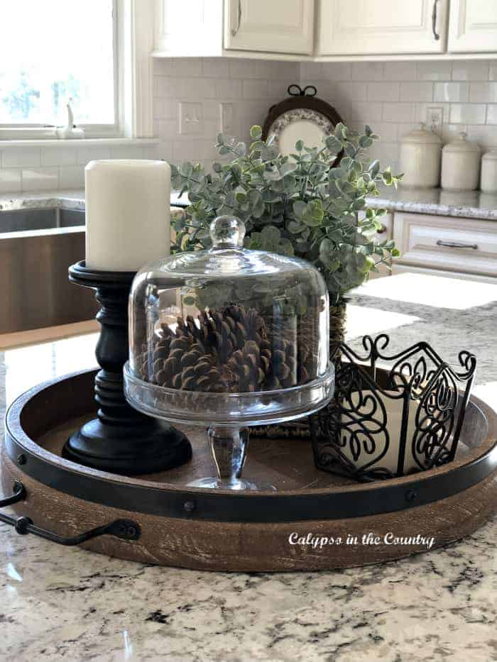 Farmhouse styled tray for winter home decor