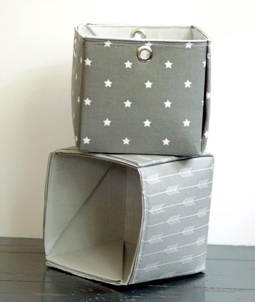 Photo of finished fabric storage basics in grey and white