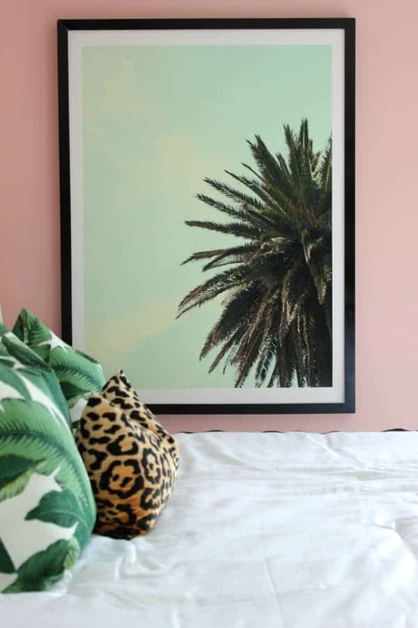 How to make a huge picture frame - photo of the end product with a picture of a palm tree
