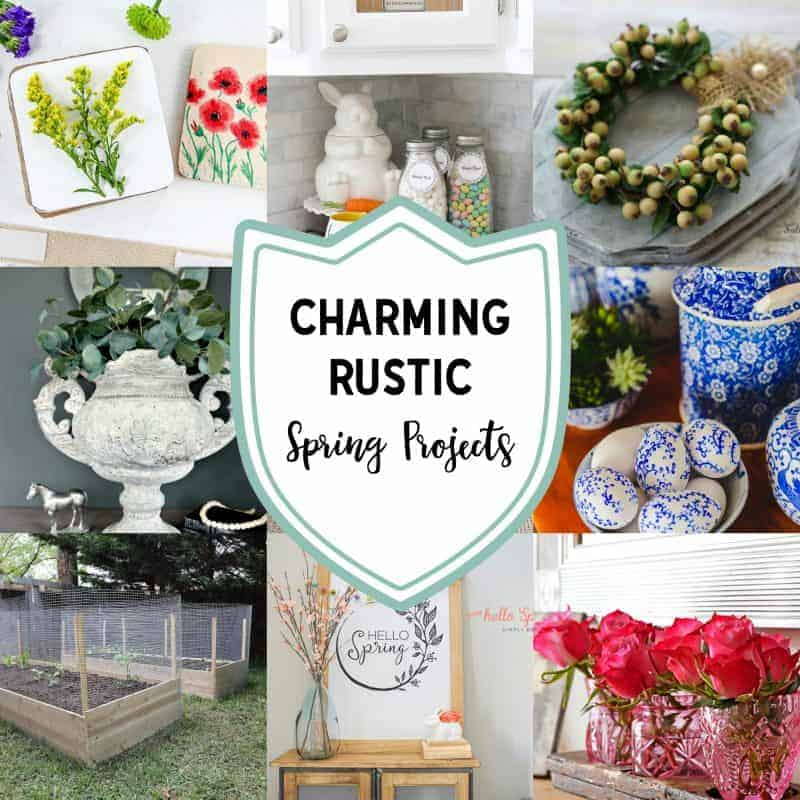 Square collage of 12 charming rustic projects for spring
