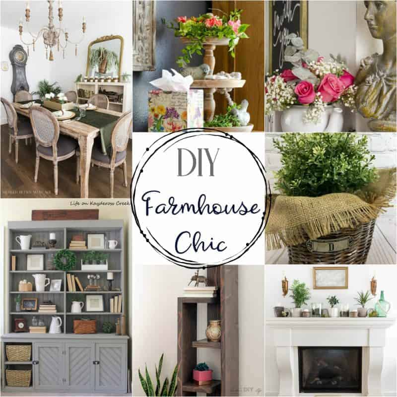 Square collage of ideas for creating farmhouse chic decor