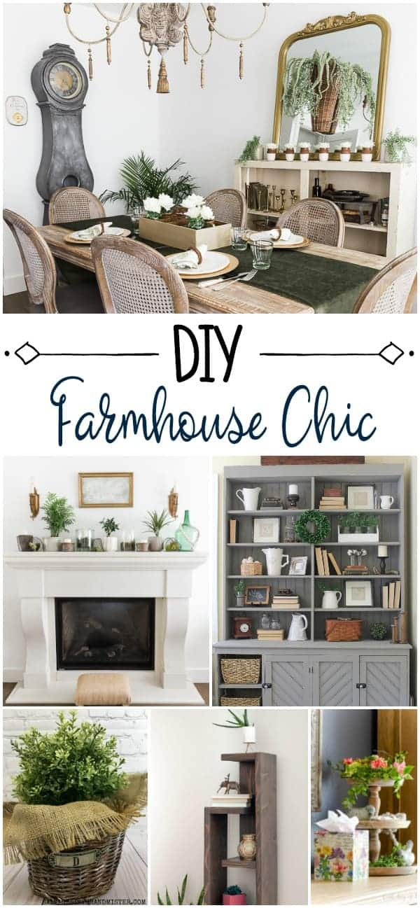 collage of ideas for creating farmhouse chic decor