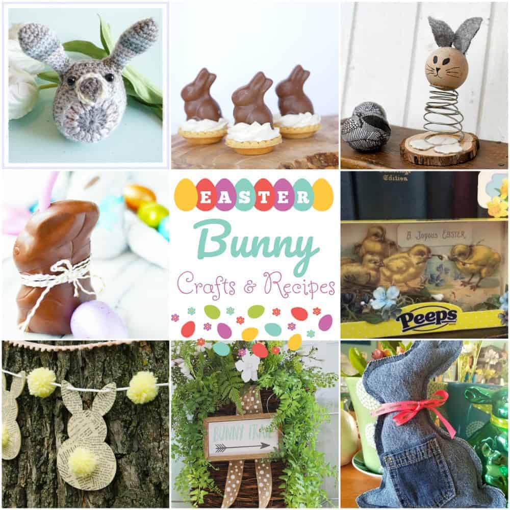 Collage of cute Easter Bunny Crafts and Recipes