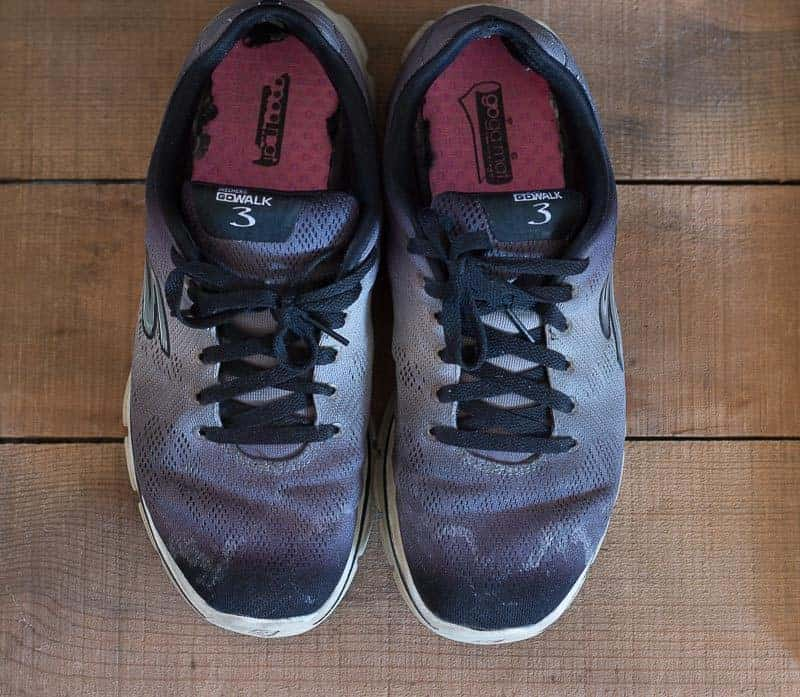 Before photo of salt stained tennis shoes