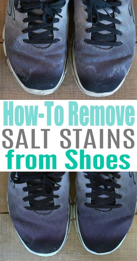 Before and after photo of black tennis shoes with salt stains and without after cleaning using this simple trick