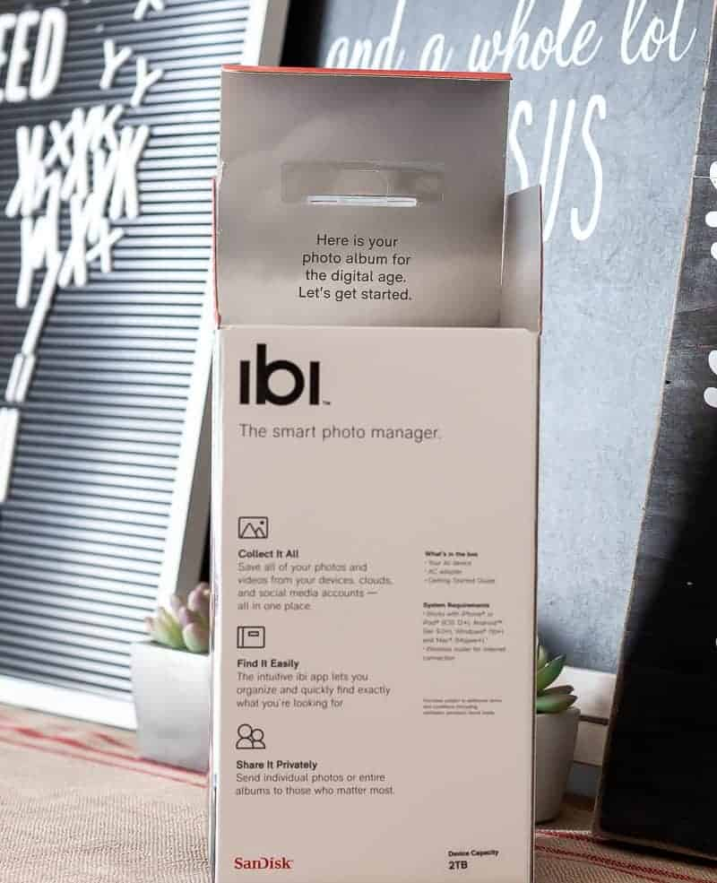 Photo of ibi device used to organize photos, save, store and share