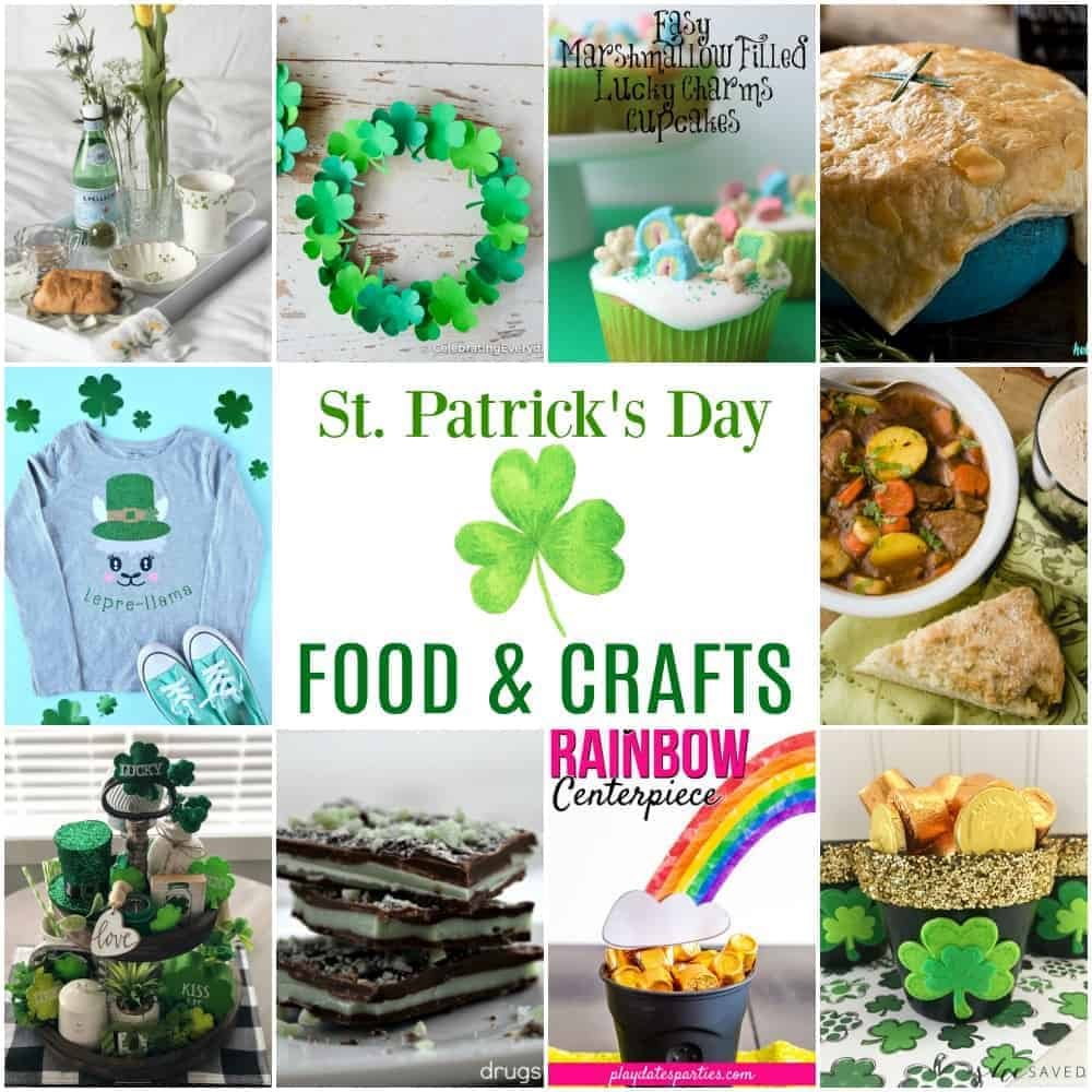 Square collage of St. Patrick's Day food recipes, craft ideas, and decorations including shamrock wreaths, Irish Stew, Cricut t-shirt, lepre-llama, tiered tray, and pot of gold craft