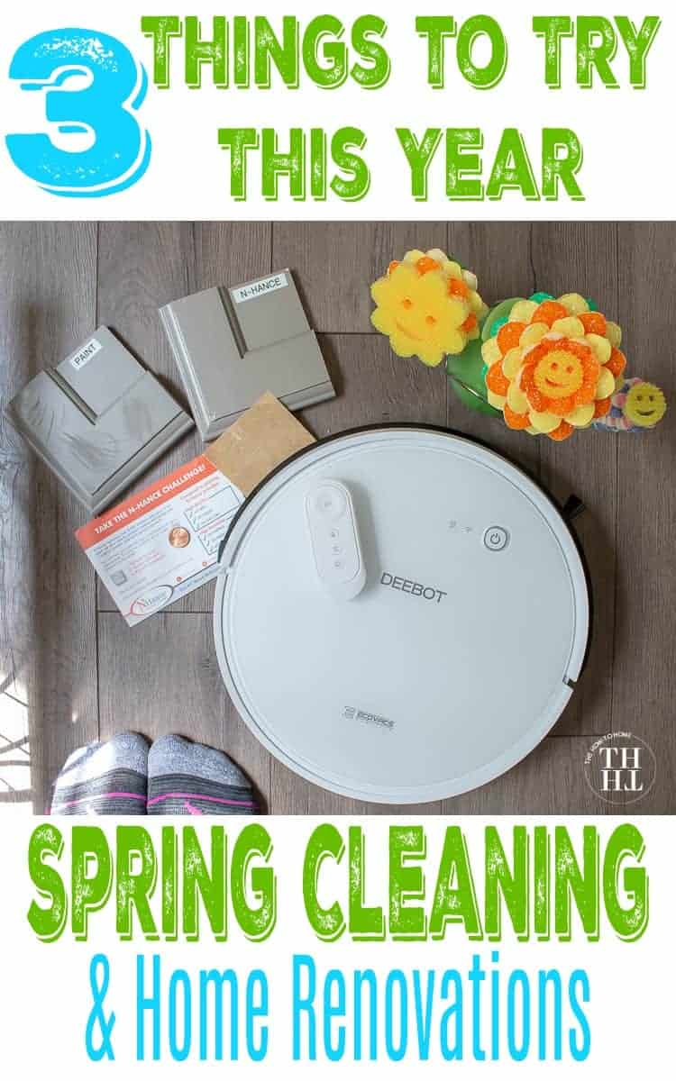 Overhead view of a robot vacuum, DEEBOT 600, NHance cabinet refinishing, and The Scrub Daddy - products recommended for spring cleaning and home renovations