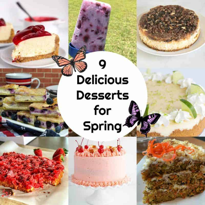Square collage of 9 pretty spring desserts with a graphic showing butterflies