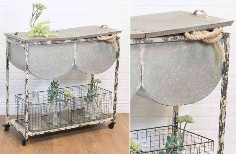 Chippy and Shabby Chic Distressed Wash Tub Accent Table with Heavy Wire Baskets
