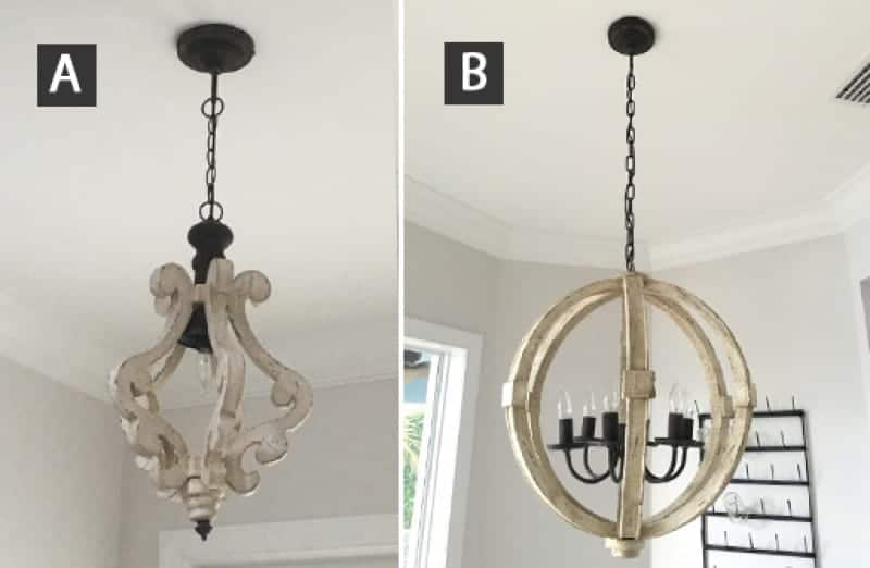 Side by side photo of two different styles of shabby chic white distressed wood chandeliers