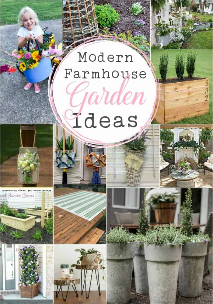 collage of 15 images all showing wonderful ideas for carrying the modern farmhouse style beyond your walls and outside to your summer living space