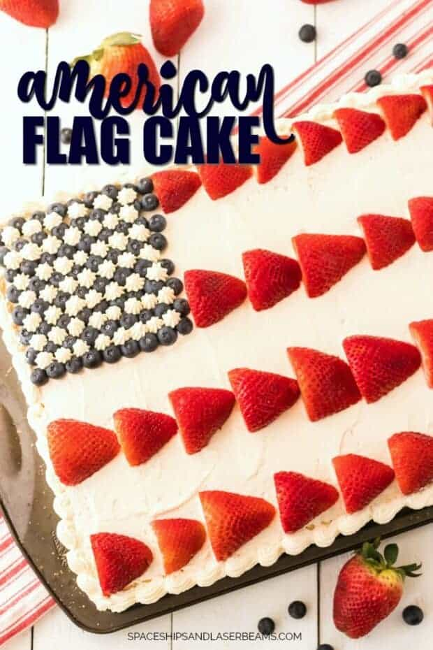 American Flag Cake with blueberries and strawberries - patriotic party food