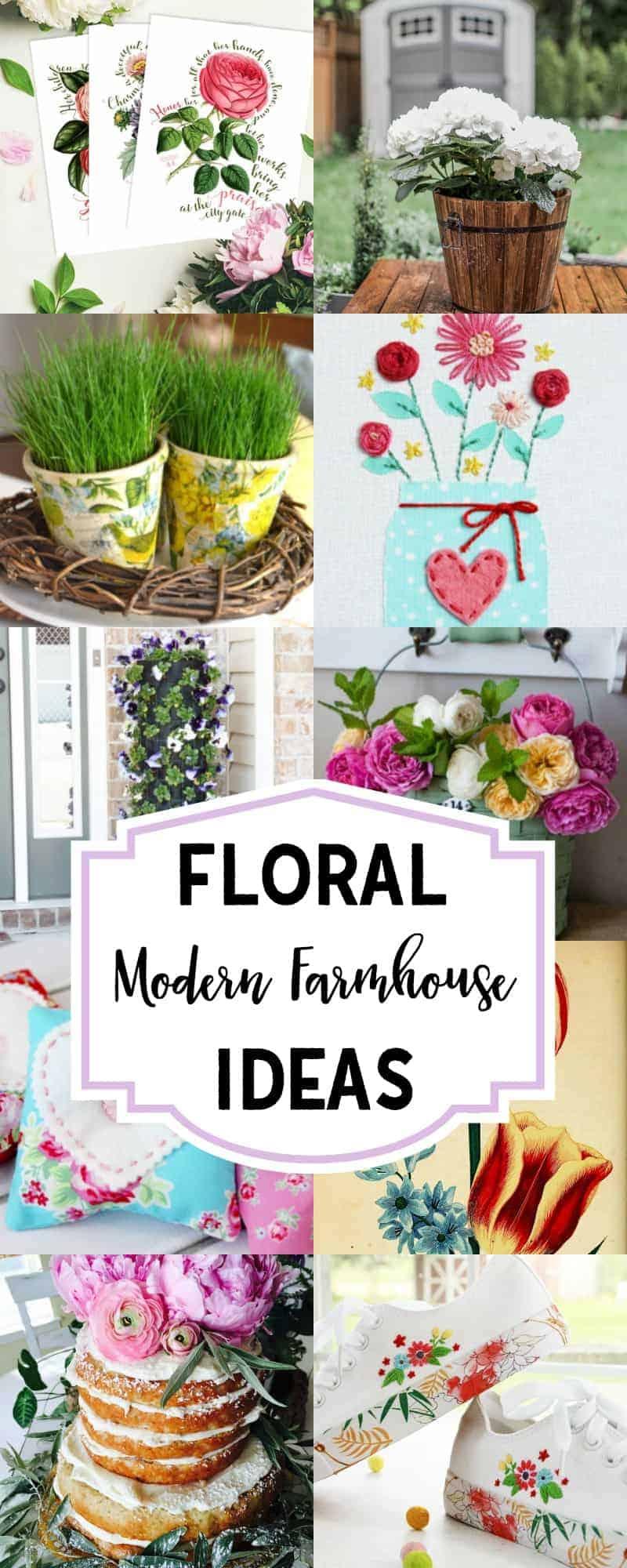 collage of floral modern farmhouse decor ideas