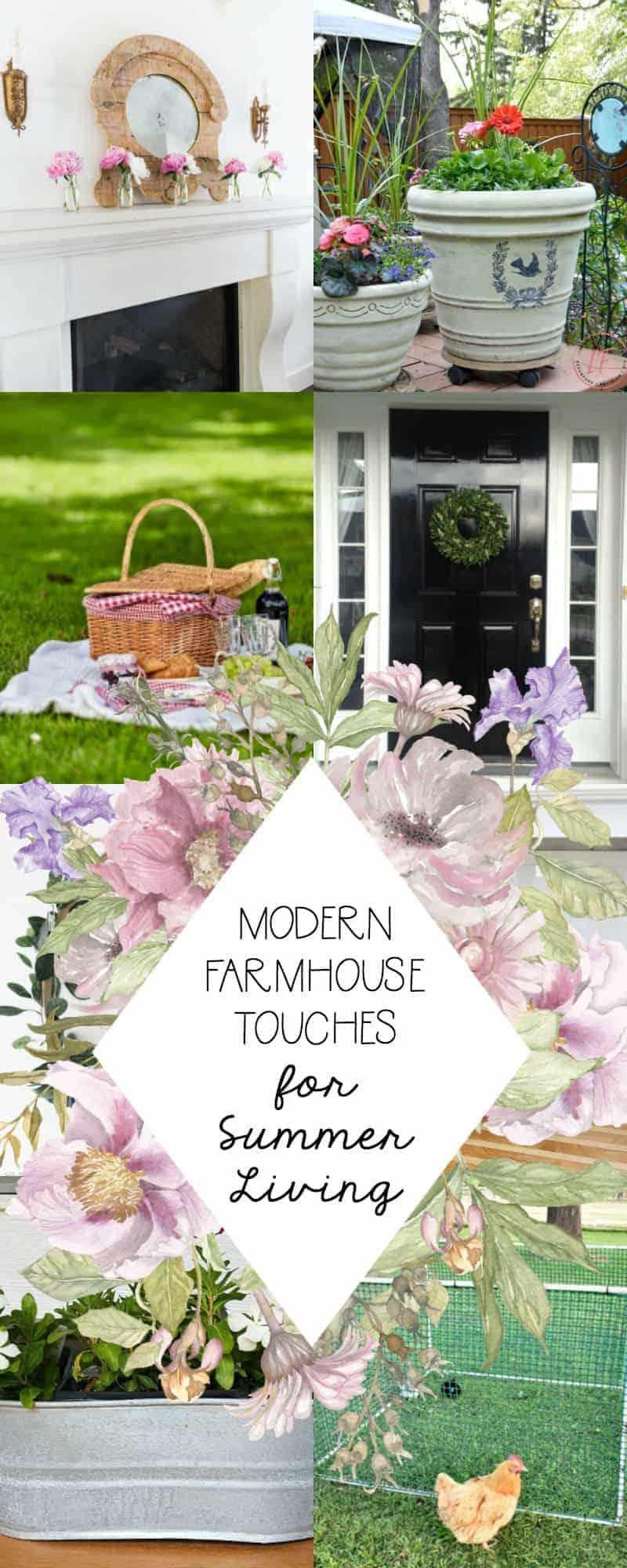 Collage of Modern Farmhouse Summer Decor