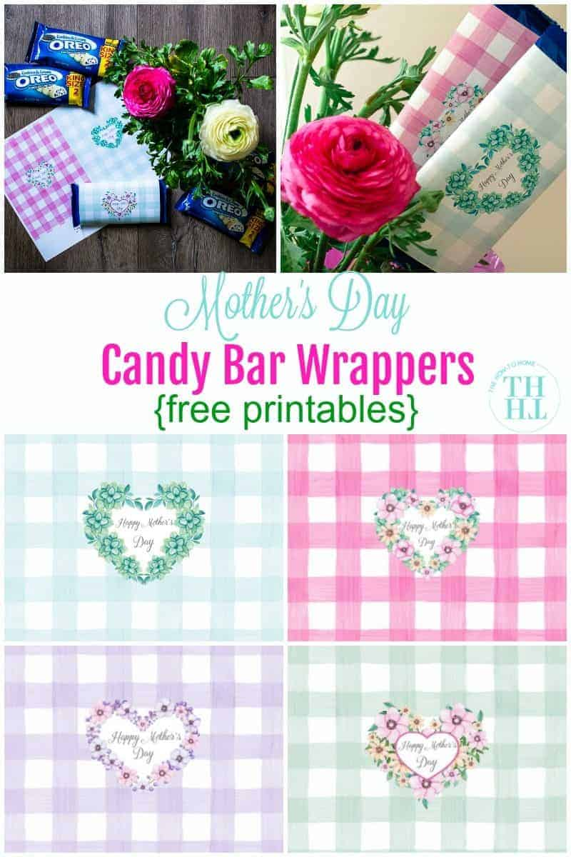 Collage type photo of candy bar wrappers printables and how they are used for a Mother's Day Candy Bar Bouquet