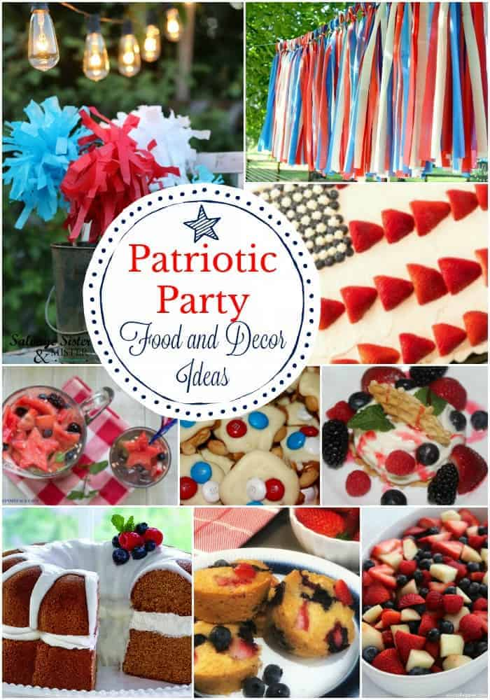 Patriotic Party Food and Decor Ideas including cakes, red white and blue tassels, tissue paper sparklers, and lots of patriotic desserts.