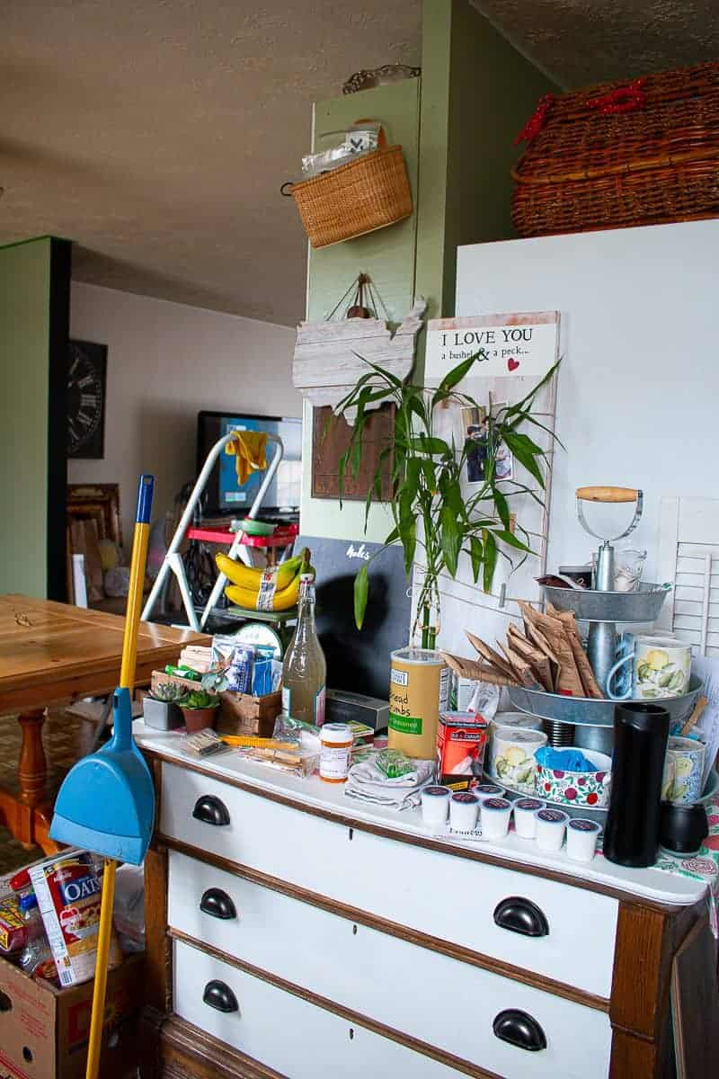 Cheap kitchen updates before pic during the under $1000 kitchen makeover - quite messy!