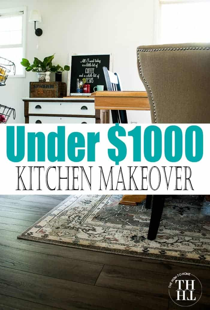 Kitchen facelist, under $1000 kitchen makeover, cheap kitchen updates after pic with text for pinterest across the center of the photo
