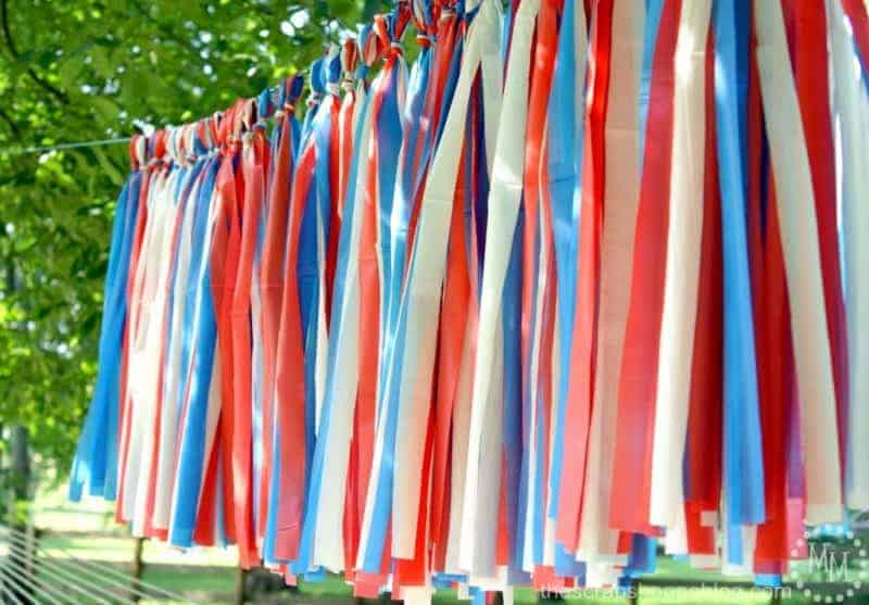 Red, white and blue outdoor tassels made from plastic tableclothes - patriotic party decor