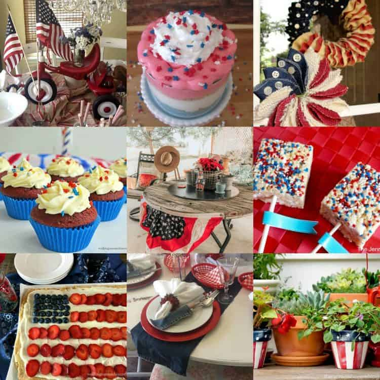 Group of photos of patriotic decor and patriotic food all wonderful for celebrating, decorating, and entertaining for the 4th of July - lots of red, white, and blue