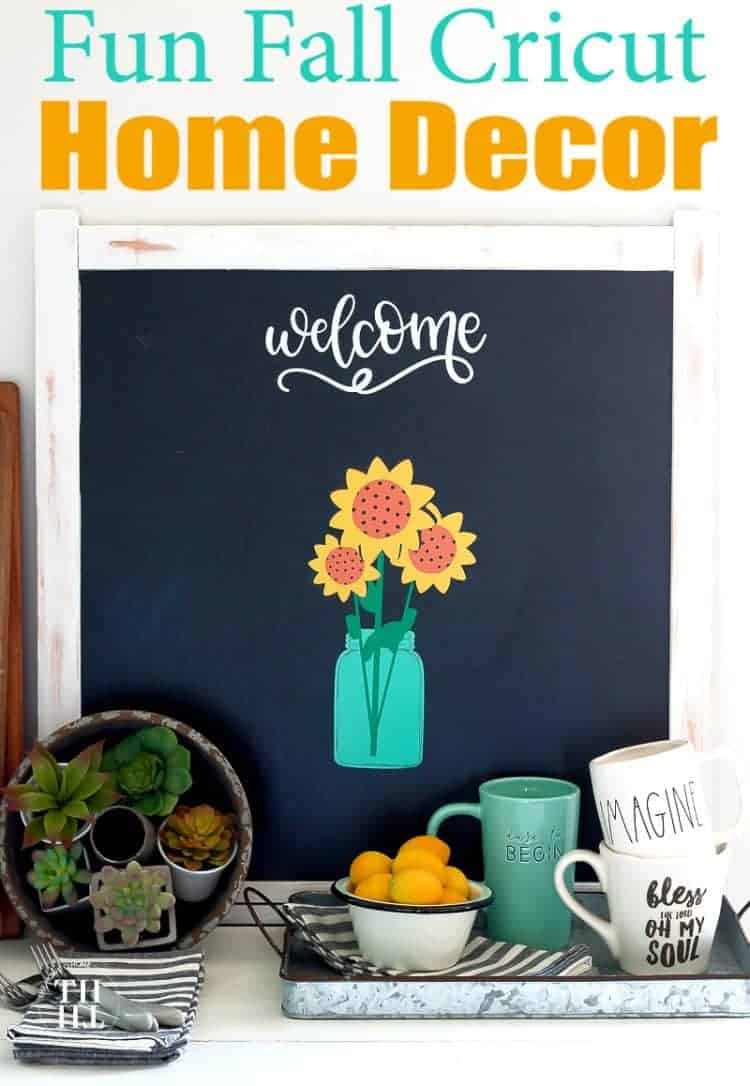 Farmhouse Chalkboard background with a bouquet of sunflowers in a blue mason jar vase