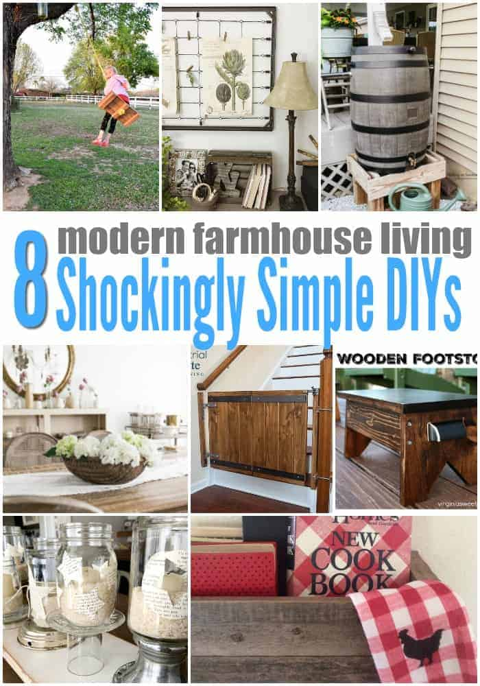 collage of farmhouse living simple DIYs