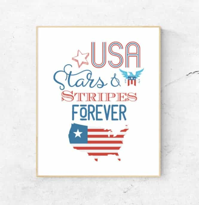 4th of July clip art and text in the form of a printable