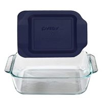 "Pyrex 8"" Square Baking Dish with Blue Plastic Lid"