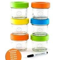 Glass Baby Food Storage Containers - Set contains 6 Small Reusable 4oz Jars with Airtight Lids - Safely Freeze your Homemade Baby Food