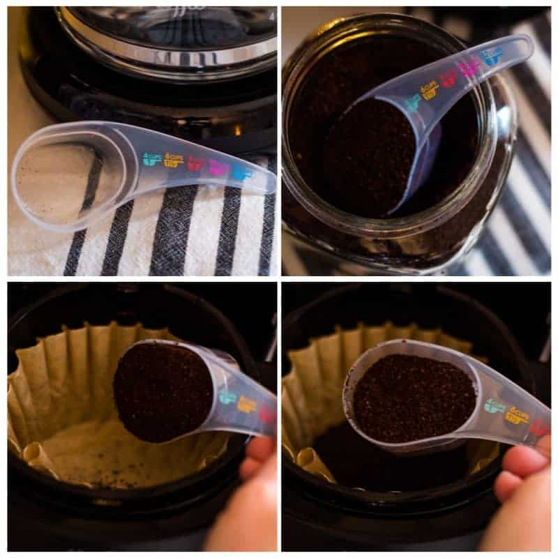 4 picture collage of coffee being placed into a coffee filter