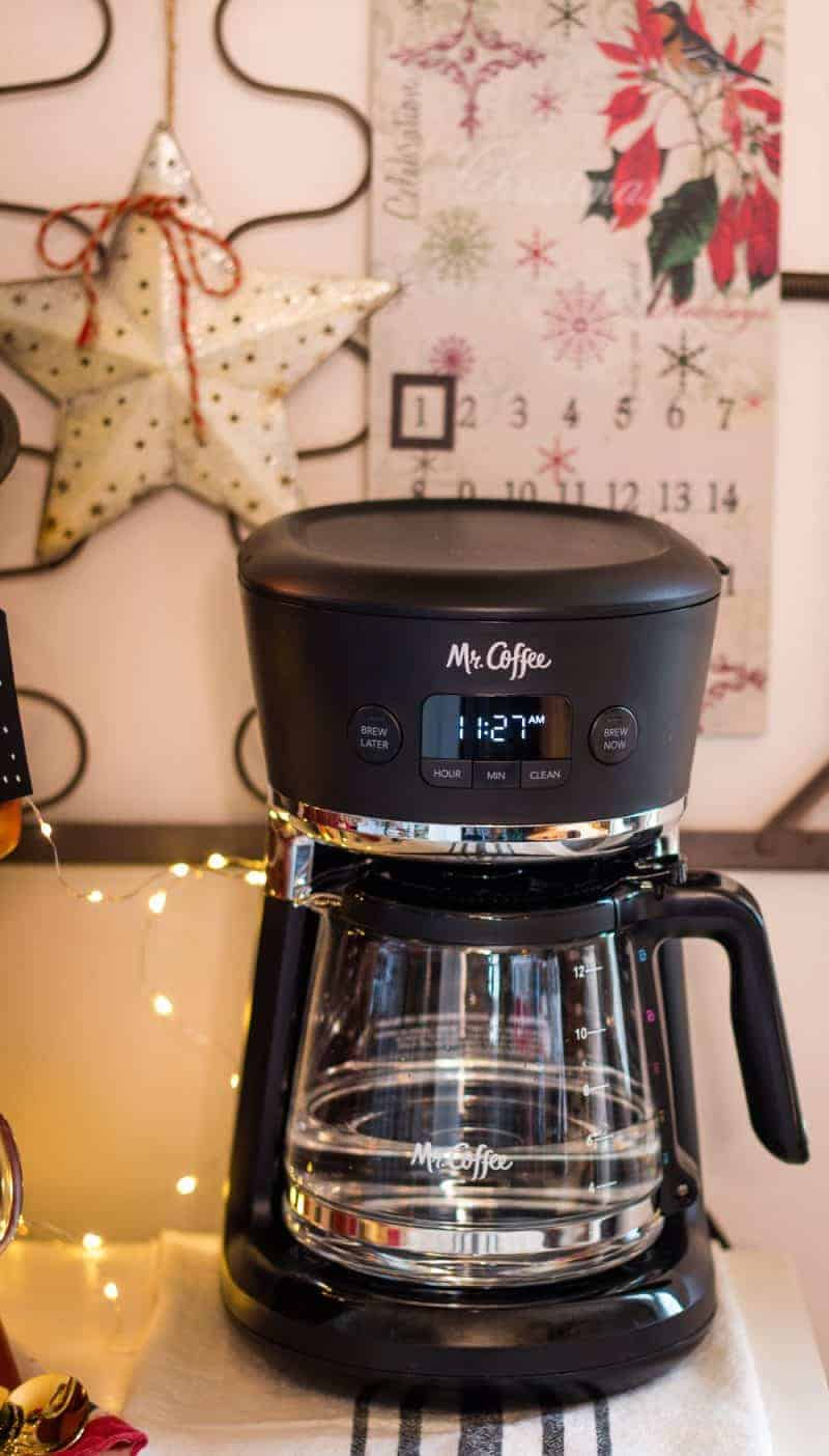 Mr. Coffee coffee maker with fresh water in a glass carafe