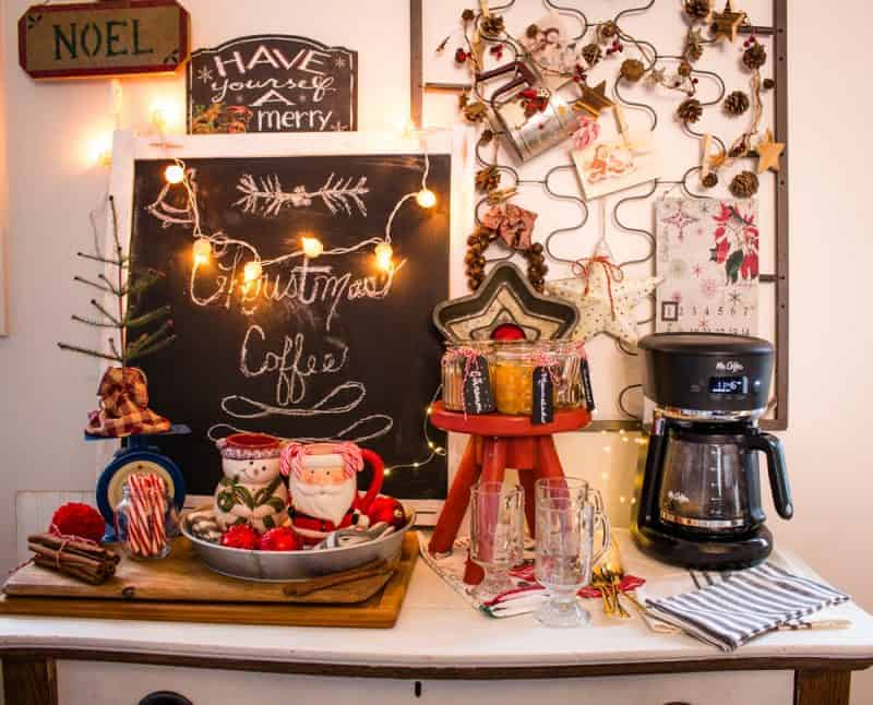 Christmas coffee bar with fresh coffee and stir in flavorings