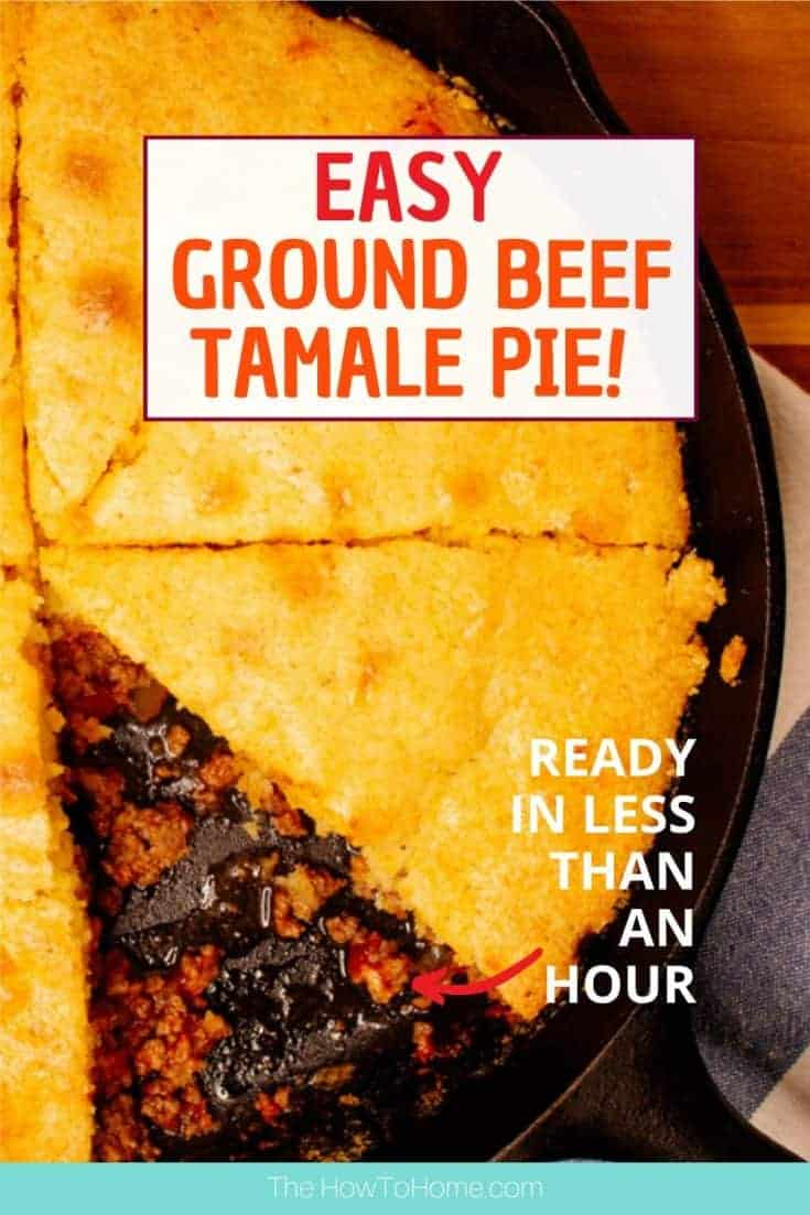 This easy beef tamale pie is so easy to make and is a family favorite. With only 3 ingredients in the meat mixture and topped with boxed cornbread mix it's ready in less than an hour. A perfect casserole for busy weeknights. #cornbread #tamale #casserole #easy #recipe #beef #thehowtohome