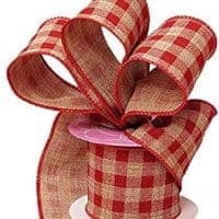 Red Gingham Wired Ribbon