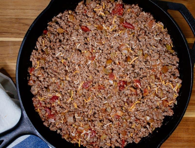Beef Tamale Pie Mixture in Cast Iron Skillet