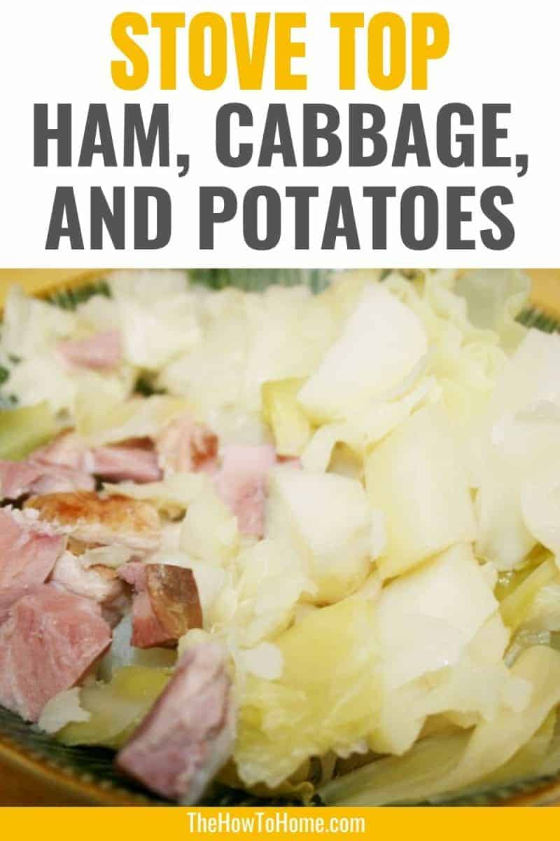 ham and cabbage with potatoes in bowl cooked