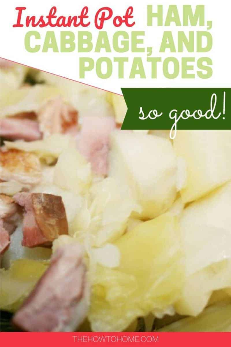 ham and cabbage with potatoes in green serving bowl