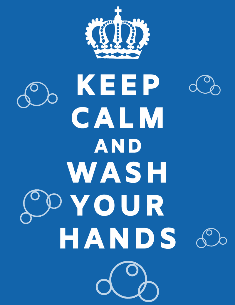 Keep Calm and Wash Your Hands free printable with blue background and light blue bubbles