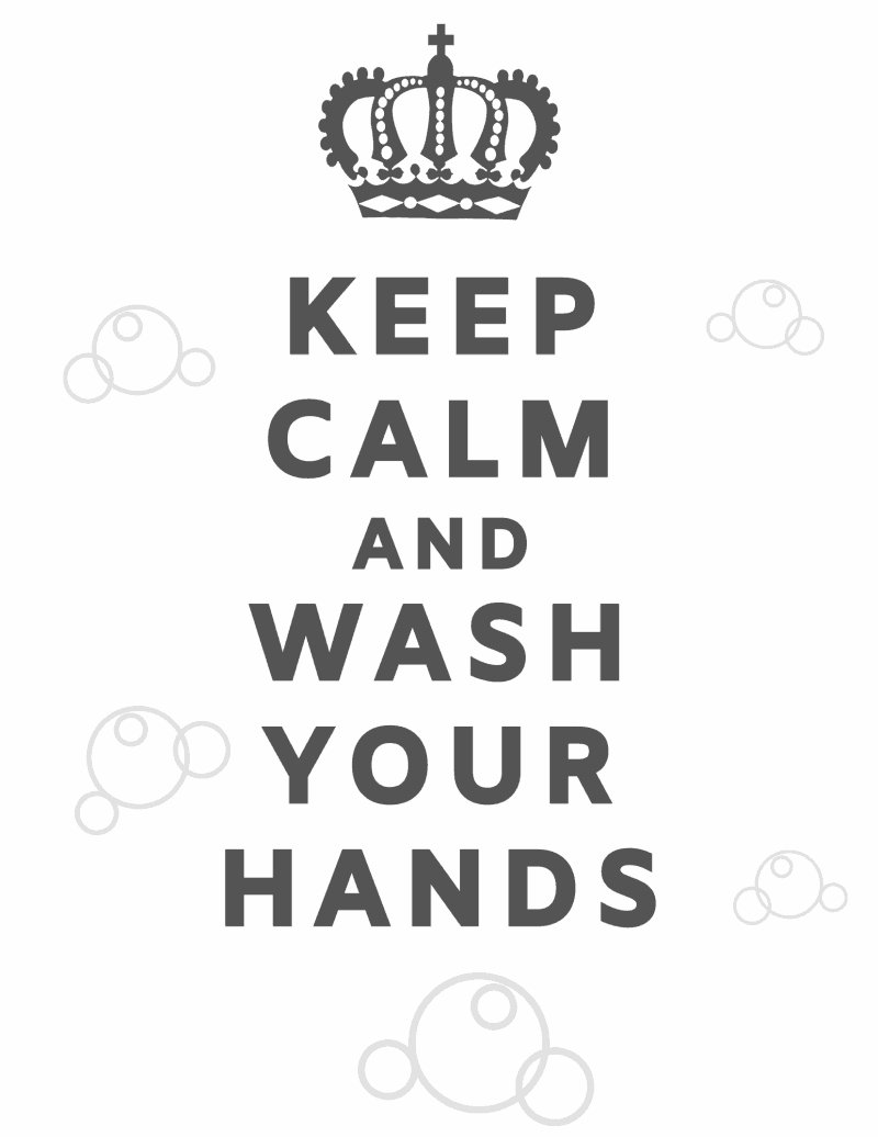 White background with black ink free printable Keep Calm and Wash Your Hands at The How To Home