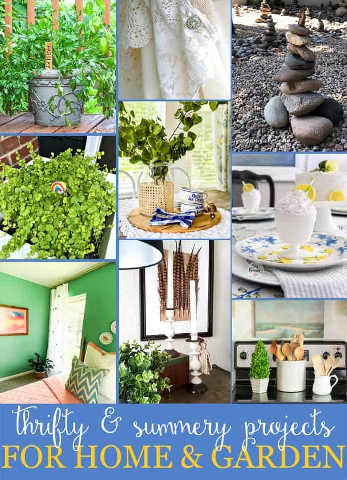 Collage of thrifty home decor and garden ideas