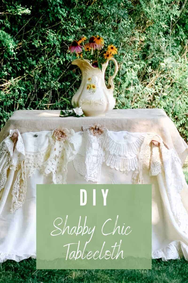 Outdoor romantic garden table using vintages linens and doilies to create a shabby chic tablecloth