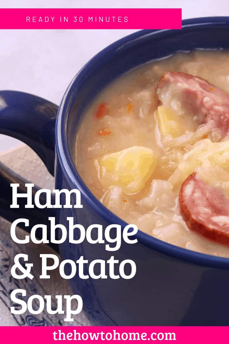 Ham Cabbage and Potato Soup in Blue Bowl