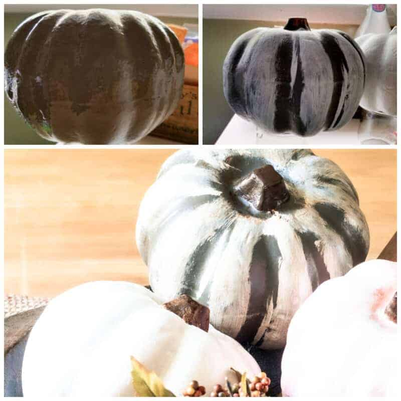 Collage of dollar store painted pumpkins.